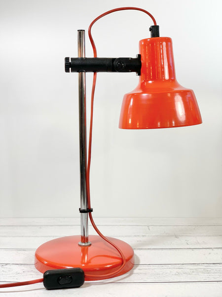 Vintage Danish Orange Enamel Desk Lamp Table Retro Lighting