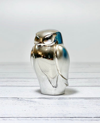 Dansk Designs Silver Owl Paperweight Vintage Danish Retro Scandinavian Animal Lovers Gifts Present