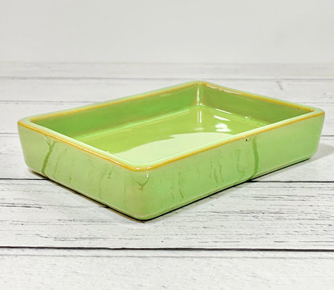 Knabstrup Pottery Danish Green Ceramic Soap Dish 1960s 1970s
