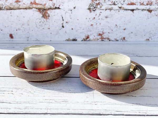 2 Danish Red Ceramic Candle Tealight HoldersTrinket Dishes Retro Pottery 1970s