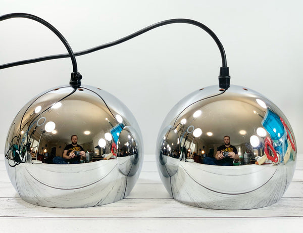 Frandsen Ball Steel Chrome Danish Pendant Lamp 1960s 1970s Retro Ceiling Light Scandinavian