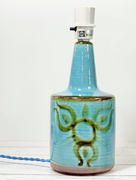Soholm Pottery Danish Turquoise Blue Table Lamp 1903 Bedside Vintage 1960s
