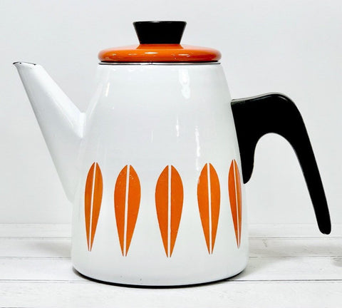 Cathrine Holm Lotus Vintage Enamel Coffee Pot White & Dark Orange 1960s Norwegian Scandinavian