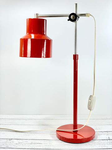 Vintage Danish Desk Office Lamp Retro Red Workshop Light Style Design