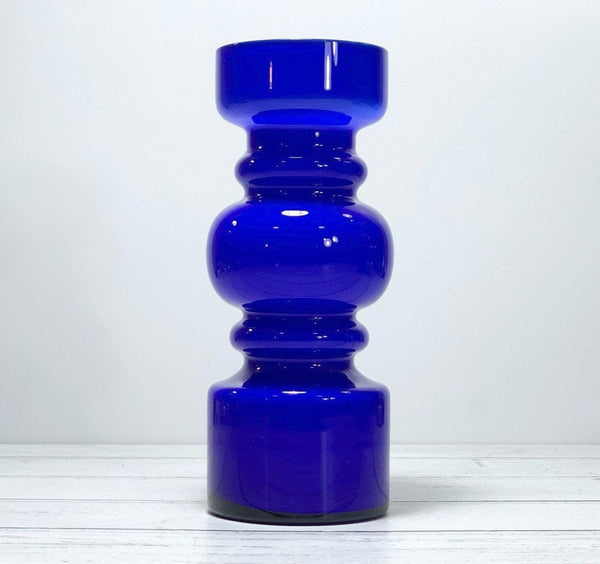 Lindshammar Swedish Hooped Blue Glass Vase Vintage Scandinavian Retro 1960s 1970s