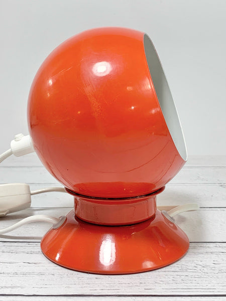 Danish Frandsen Ball Table Lamp Dark Orange Enamel 1970s Vintage Retro Light Atomic