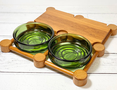 Nissen Denmark Teak Wood Glass Serving Tray Board Danish Vintage Retro 1960s