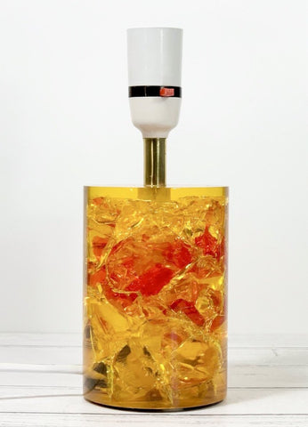 Shattaline Shatterline Table Lamp Bedside Orange Yellow Cracked Resin Vintage Retro Atomic