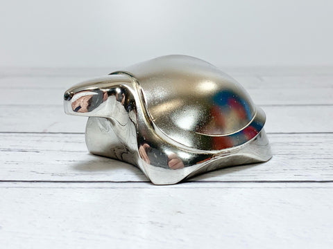 Dansk Designs Silver Turtle Tortoise Paperweight Vintage Danish Retro Scandinavian Animal Lovers Presents Gifts