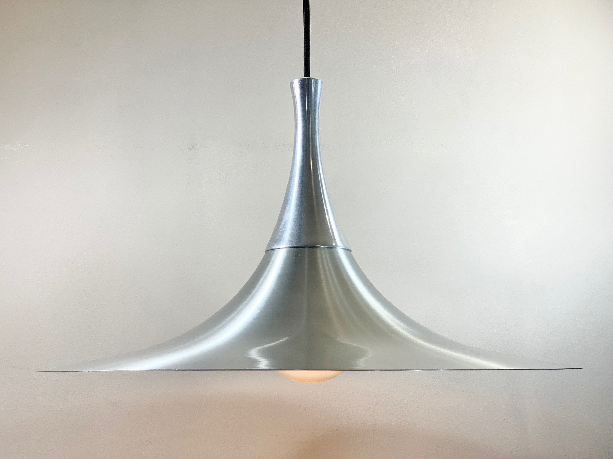Danish Aluminium Silver Semi Style Pendant Lamp 1960s 1970s Retro Ceiling Light