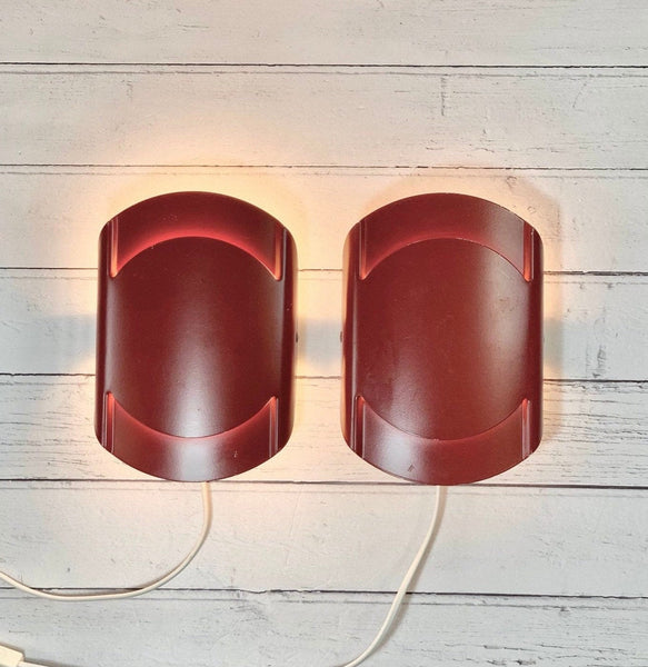 Lyfa Danish Red Wall Lamps Sconce Vintage Retro 1980s Light Industrial Style