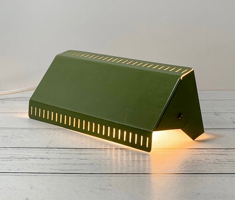 Danish Olive Green Wall Lamp Sconce Khaki Vintage Retro 1970s Industrial Light