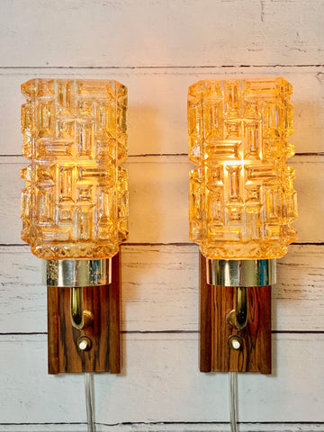 Vintage Danish Teak Glass Sconce Wall Lamps Retro Swedish Lights