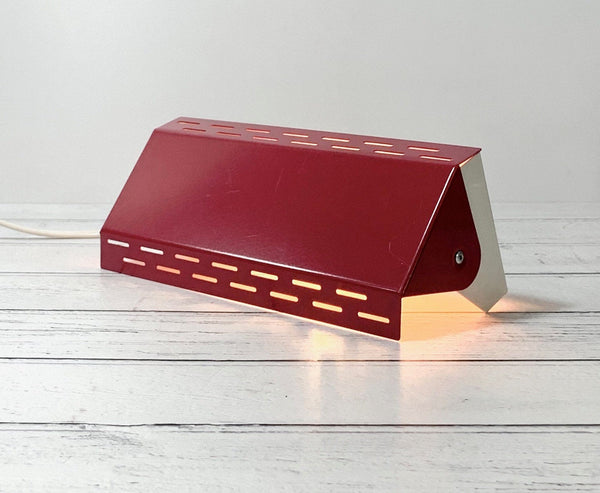 Scandinavian Red Enamel Wall Lamp Sconce Vintage Retro 1980s Light Industrial Style
