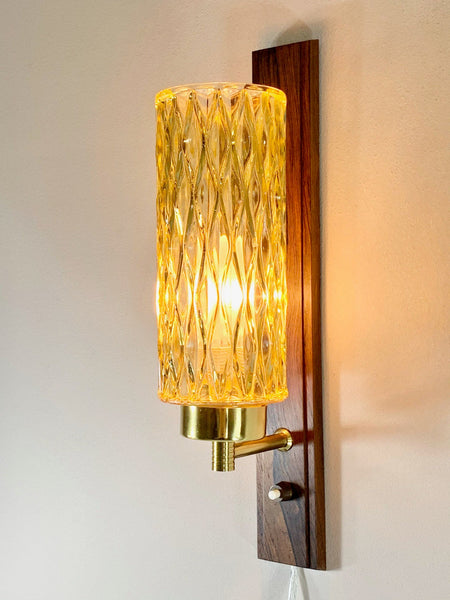 Vintage Danish Wood Yellow Glass Sconce Wall Lamps Retro Swedish Pineapple Light