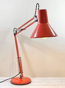 Vintage Danish Desk Office Lamp Retro Red Workshop Style Design