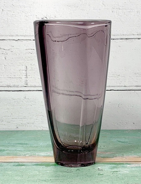 Rudolfova Sklo Union Czech Purple Glass Vase Vintage 1950s
