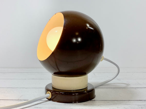 Danish Frandsen Ball Table Wall Lamp Enamel Brown Magnetic BA Vintage Retro Light Atomic Era 1970s 1980s