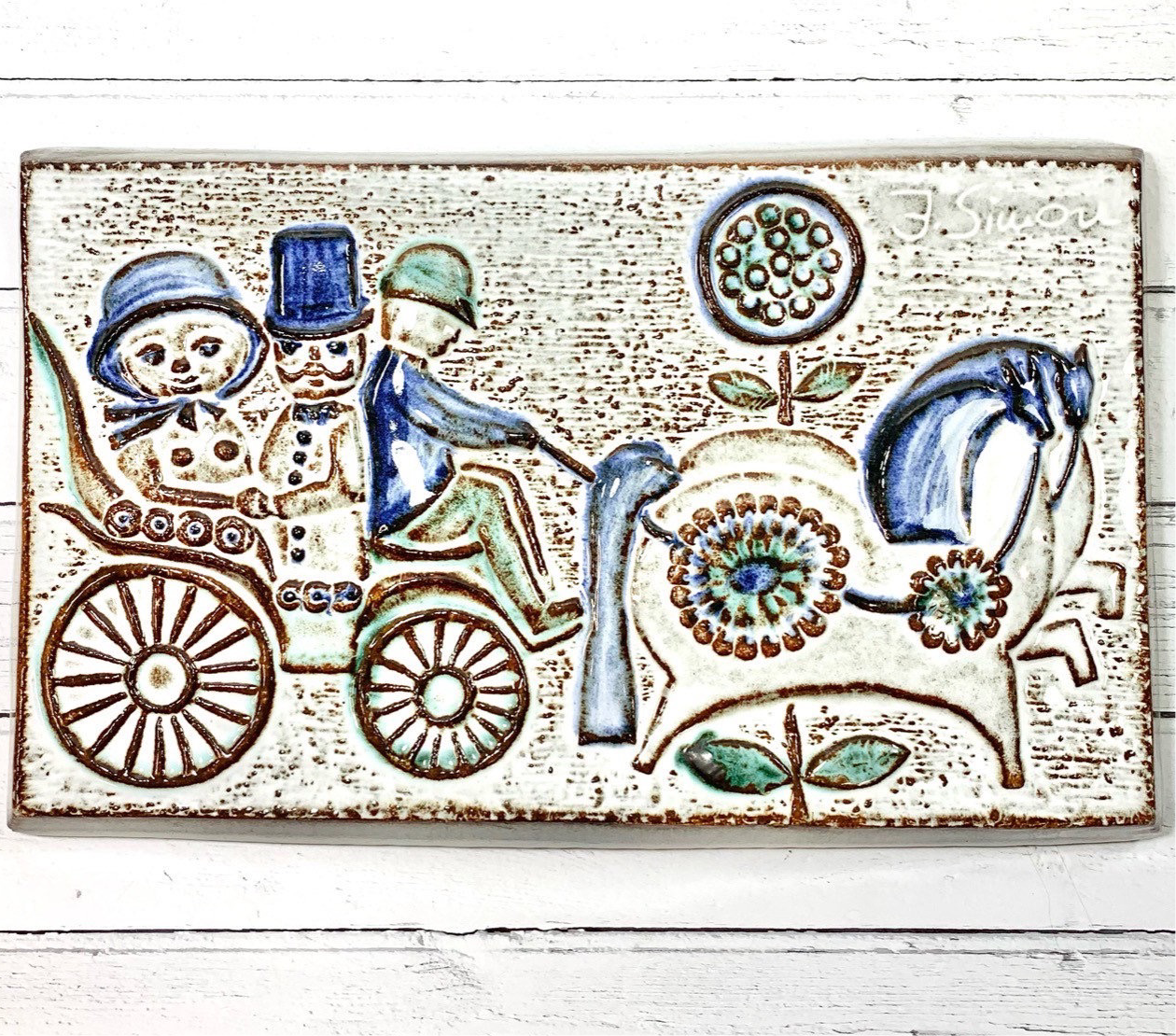 Soholm Pottery Large Danish Ceramic Wall Relief Retro Vintage 1960s