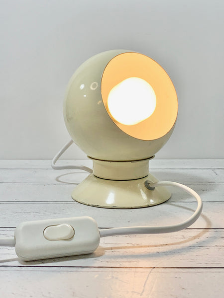 Danish Frandsen White Ball Table Wall Lamp Enamel Magnetic Vintage Retro Light Atomic Era