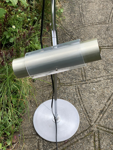 Vintage Danish 1970s/80s Steel Industrial Style Floor Lamp Light - Scandiwegians