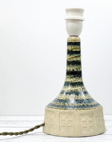 Vintage Danish Blue Striped Ceramic Table Lamp Khaki Olive Green Stripy - Scandiwegians