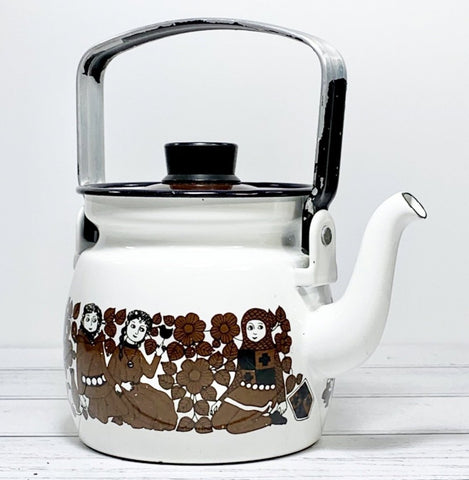 Arabia Finel Enamel Tea Kettle Finnish 1960s Scandinavian Scandi Style Design