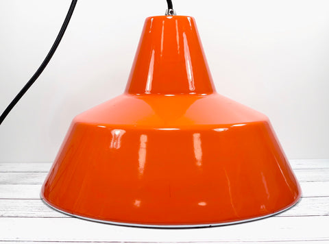 Louis Poulsen Danish Orange Enamel Workshop Pendant Lamp Industrial Design