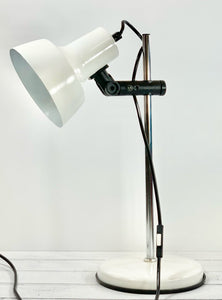 Vintage Danish White Enamel Desk Lamp Table Retro Office Lighting