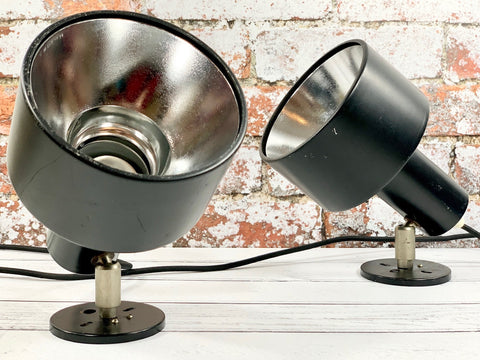 Louis Poulsen Danish Black Wall Lamps Industrial Spotlights 1970s - Scandiwegians