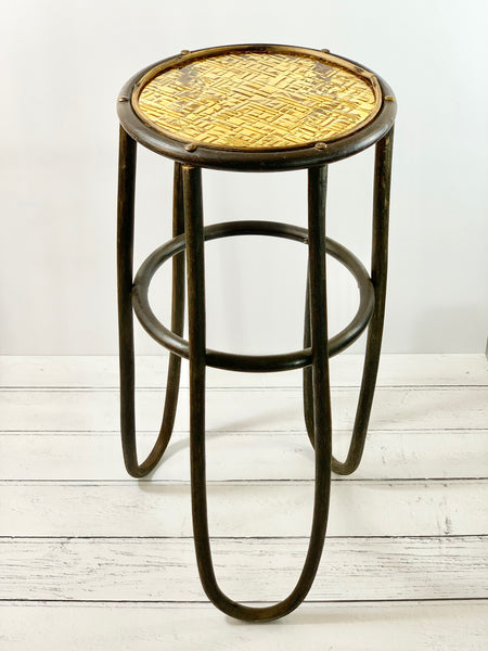 Vintage Danish Bamboo Yellow Glass Side Table Scandinavian Plant Stand 1 1960s 1970s