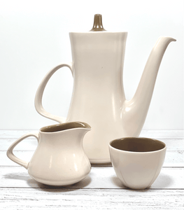 Poole Pottery Coffee Pot Creamer Sugar Bowl British English 1960s Twintone - Scandiwegians