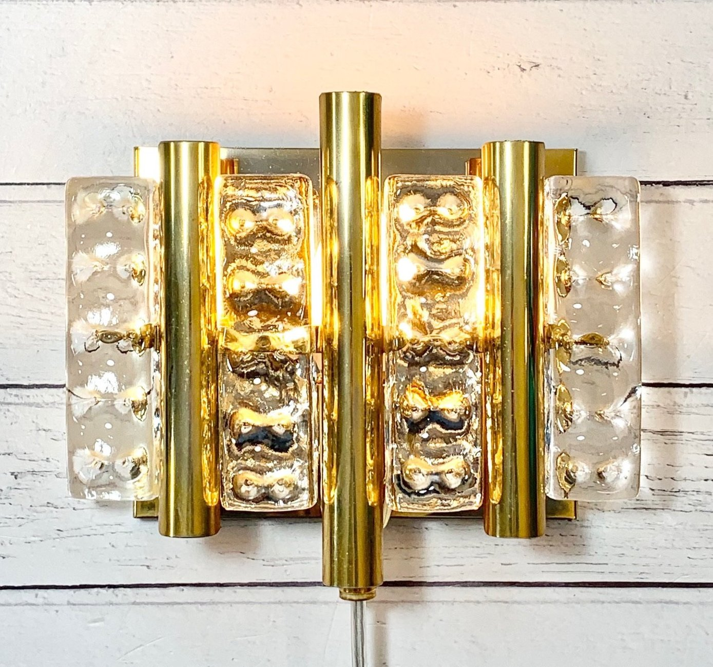 Danish Swedish Glass Sconce Wall Lamp Retro Vintage Art Deco Lighting Vitrika Lyfa Fagerlund Orrefors