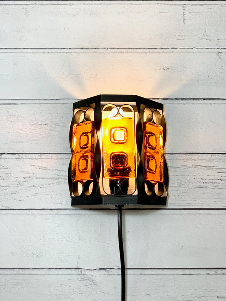 Danish Iron Swedish Amber Glass Sconce Wall Lamp Light Retro Vintage
