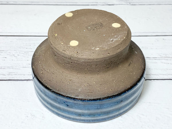Nysted Danish Teal Blue Ceramic Candle Holder Vintage Retro Tealight Votive 1970s