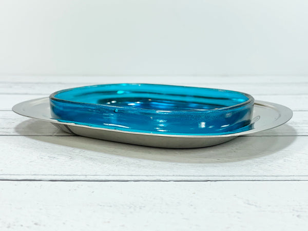 Lundtofte Turquoise Blue Glass Steel Danish Butter Soap Dish 1960s