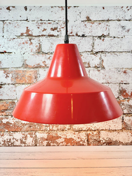 Vintage Danish Red Enamel Workshop Industrial Pendant Lamp - Scandiwegians