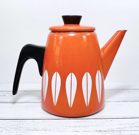Cathrine Holm Lotus Orange Coffee Pot 1960s Norwegian Scandinavian - Scandiwegians