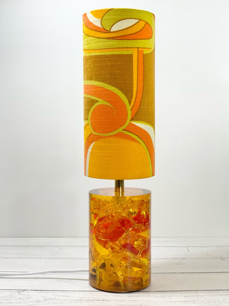 Shattaline Shatterline Table Lamp Bedside Yellow Orange Cracked Resin Crushed Ice Vintage Retro