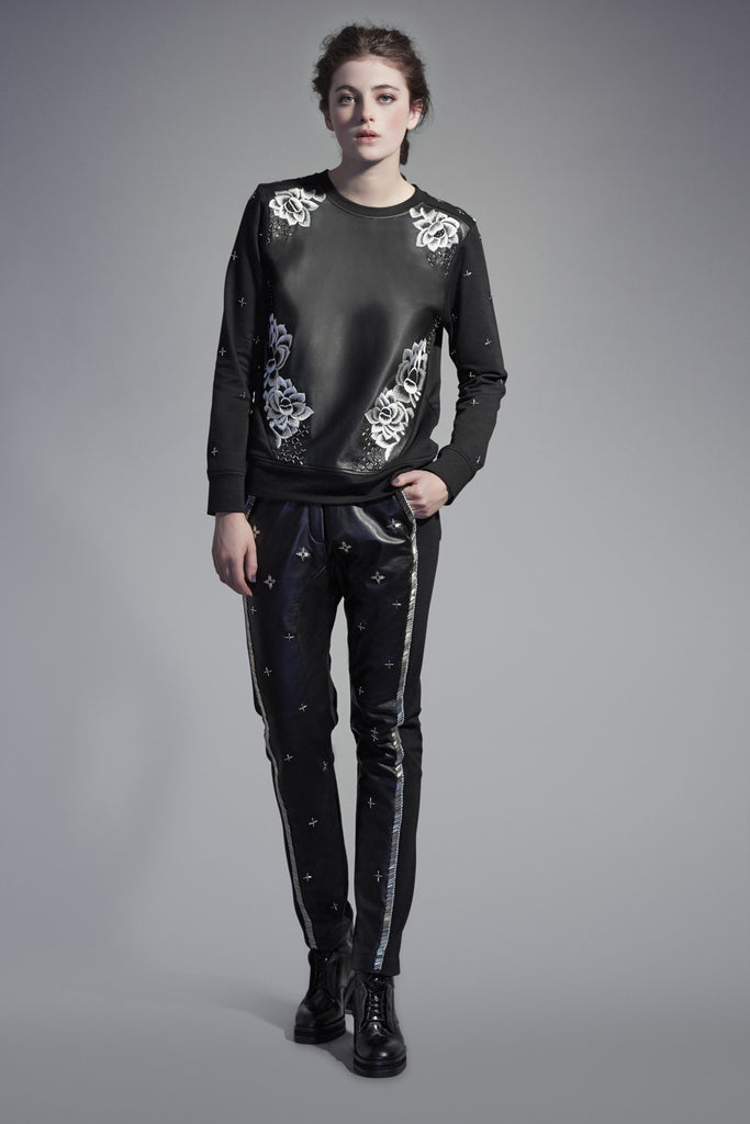 Black Leather and Jersey Mix Lotus Sweatshirt TOP42
