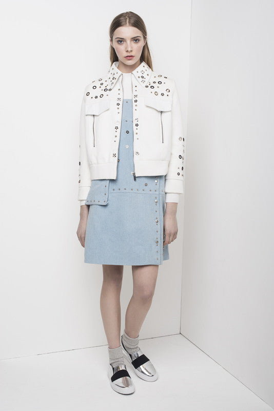 Studded & flowers jersey crop jacket with leather collar