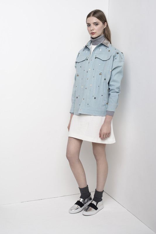 Flower Studded oversize denim jacket with leather collar JKTA09