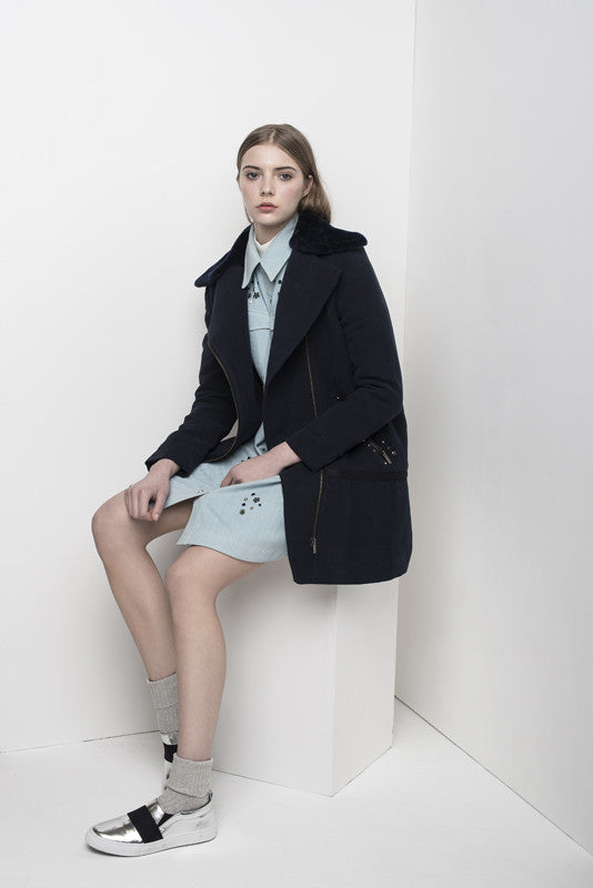 Oversize parka with velvet shearling collar JKTA13