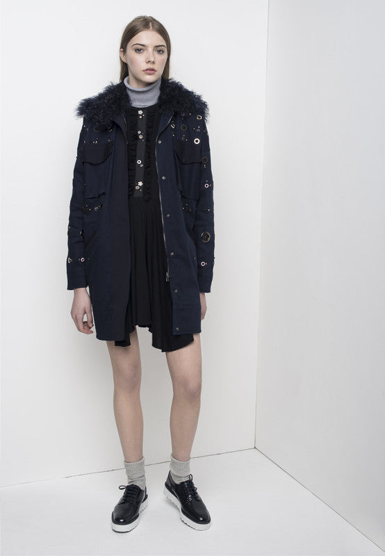 Studded parka with shearling collar JKTA14