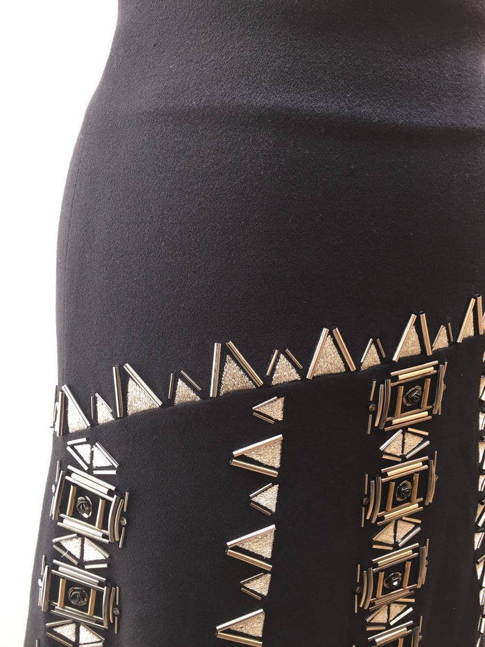 Black beaded embellished skirt