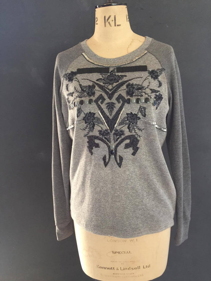 Grey beaded embellished T-shirt