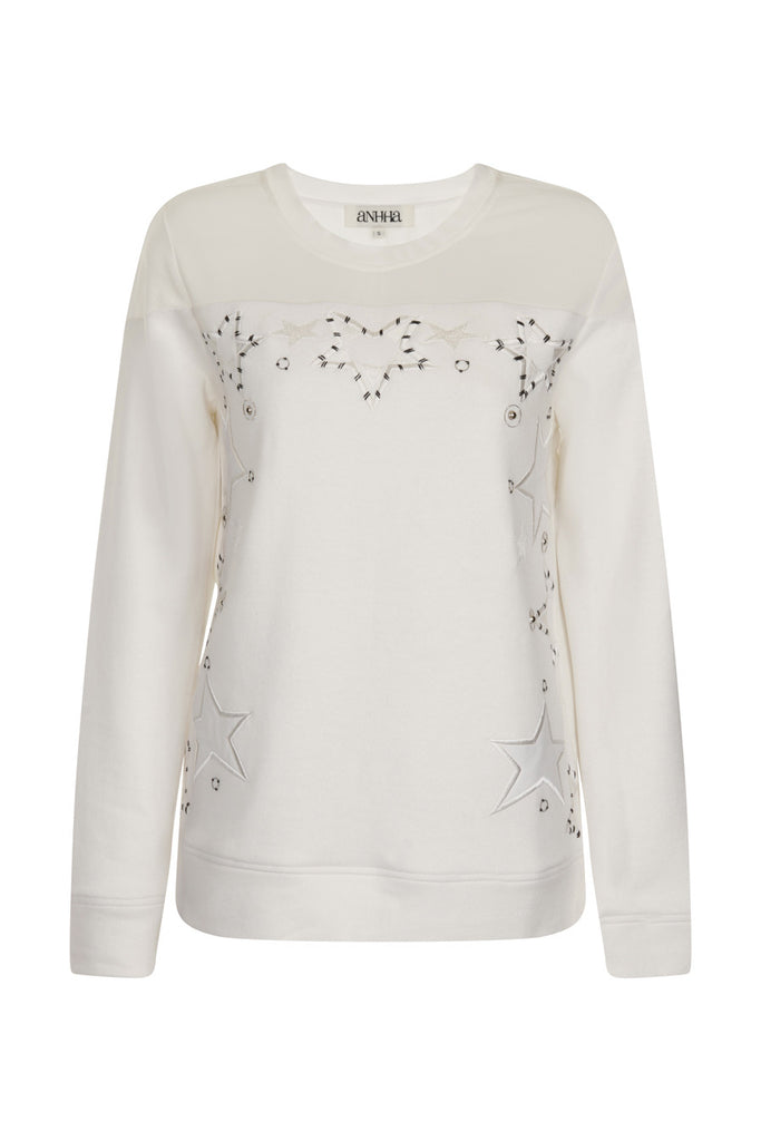 White Tulle Panel Star Sweatshirt TOP46