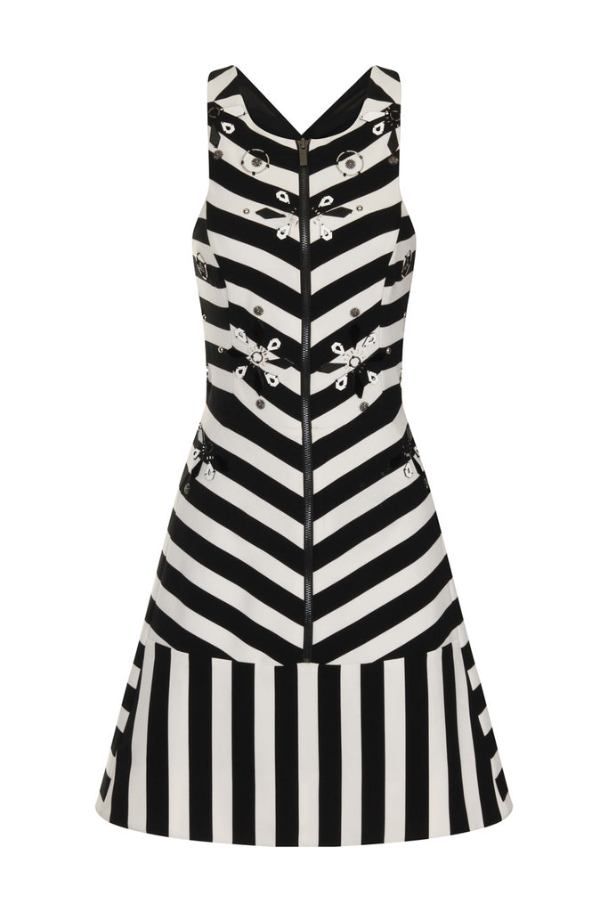 Stripe Jersey Beaded Dress DRS44