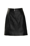 White Leather A Line Mini Skirt SKT17