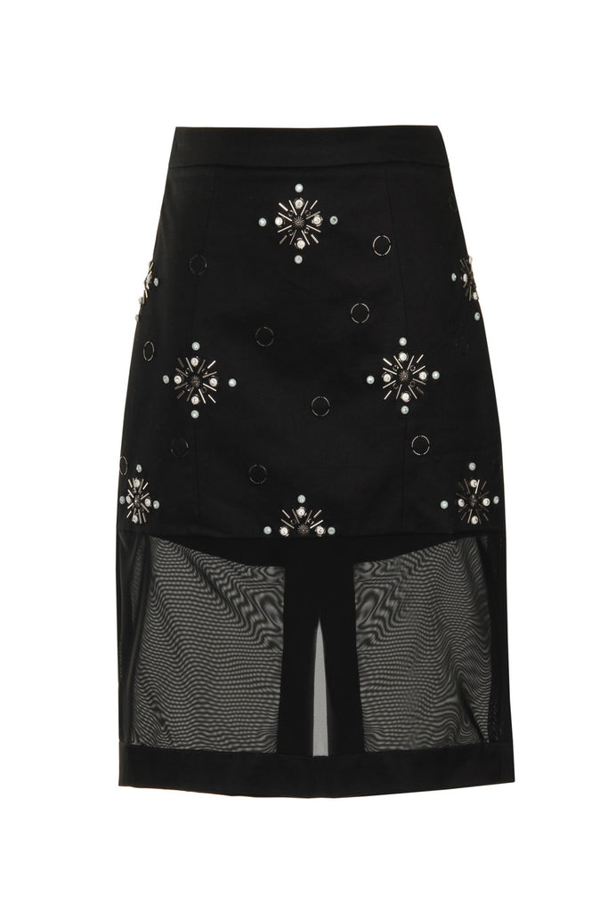 Black Beaded Cotton & Tulle Pencil Skirt SKT15